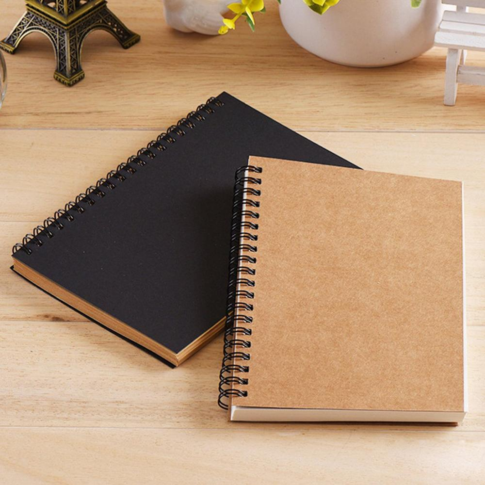 Retro Spiral Coil Sketchbook Kraft Paper Notebook Sketch Painting Diary Journal Student Note Pad Book Memo Sketch Pad loose leaf diary cowhide paper doodle book sketch block 1040913