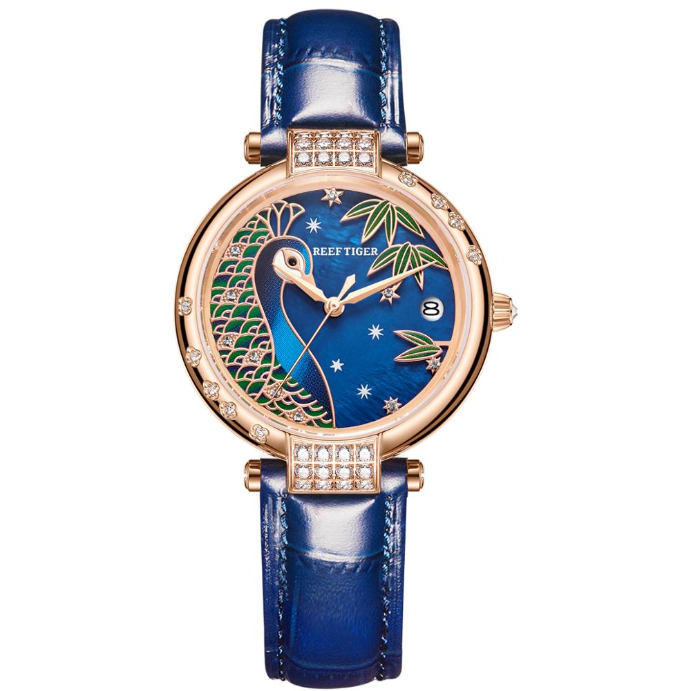 Reef Tiger / RT Luxury Gold Watch Automatic Day Date Watch Waterproof Genuine Leather Watch Relogio Feminino RGA1587 enlarge