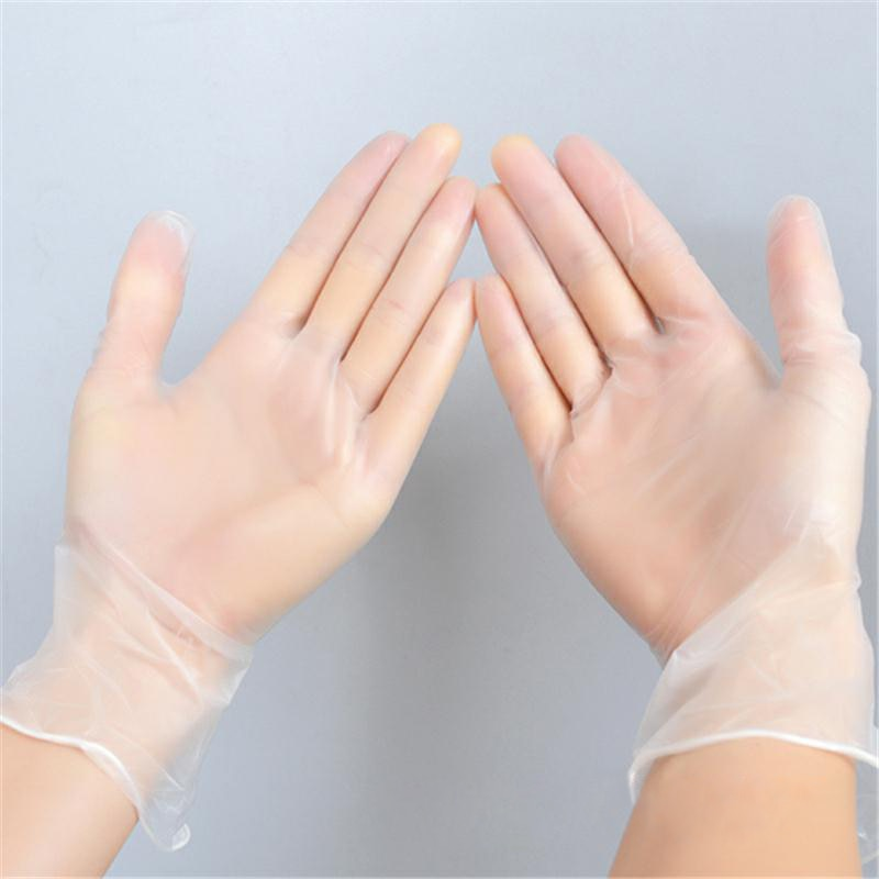 Vinyl Gloves 100 pcs / 50 Pairs A Box Disposable Powder-free Industrial Food Safety 3mm Translucent Pvc Gloves Nitrile Gloves enlarge