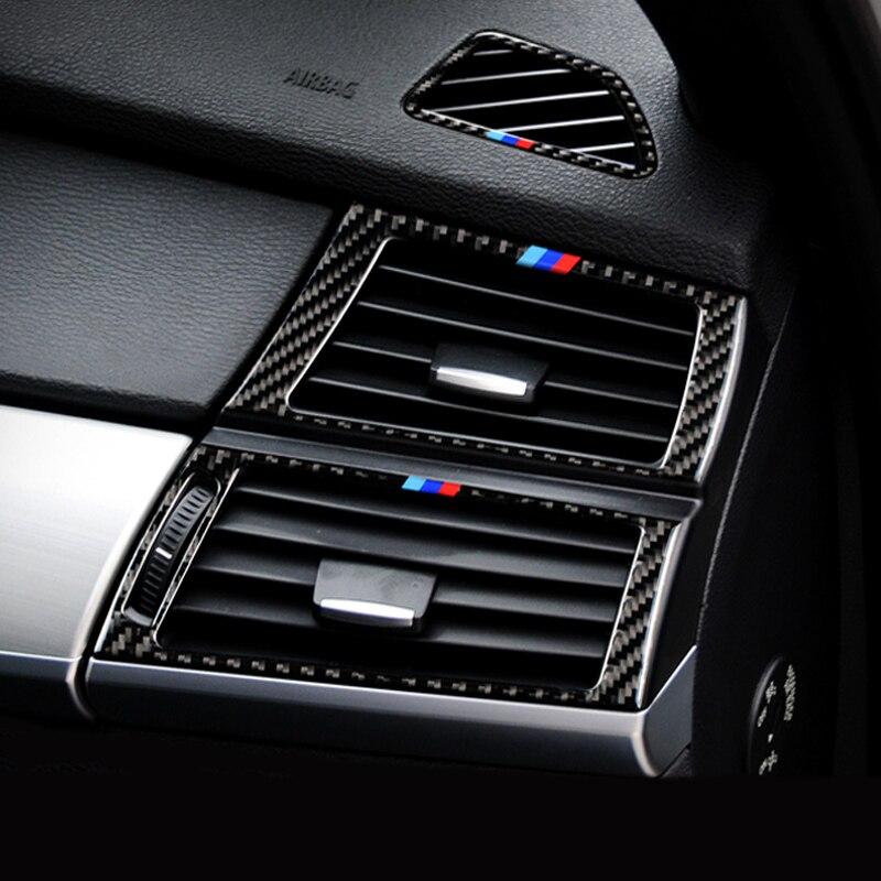 Fibra de carbono Aire acondicionado Ventilación moldura de cubierta de Marco lentejuela salida de aire panel decorativo coche pegatina para BMW X5 X6 E70 E71 F15 F16