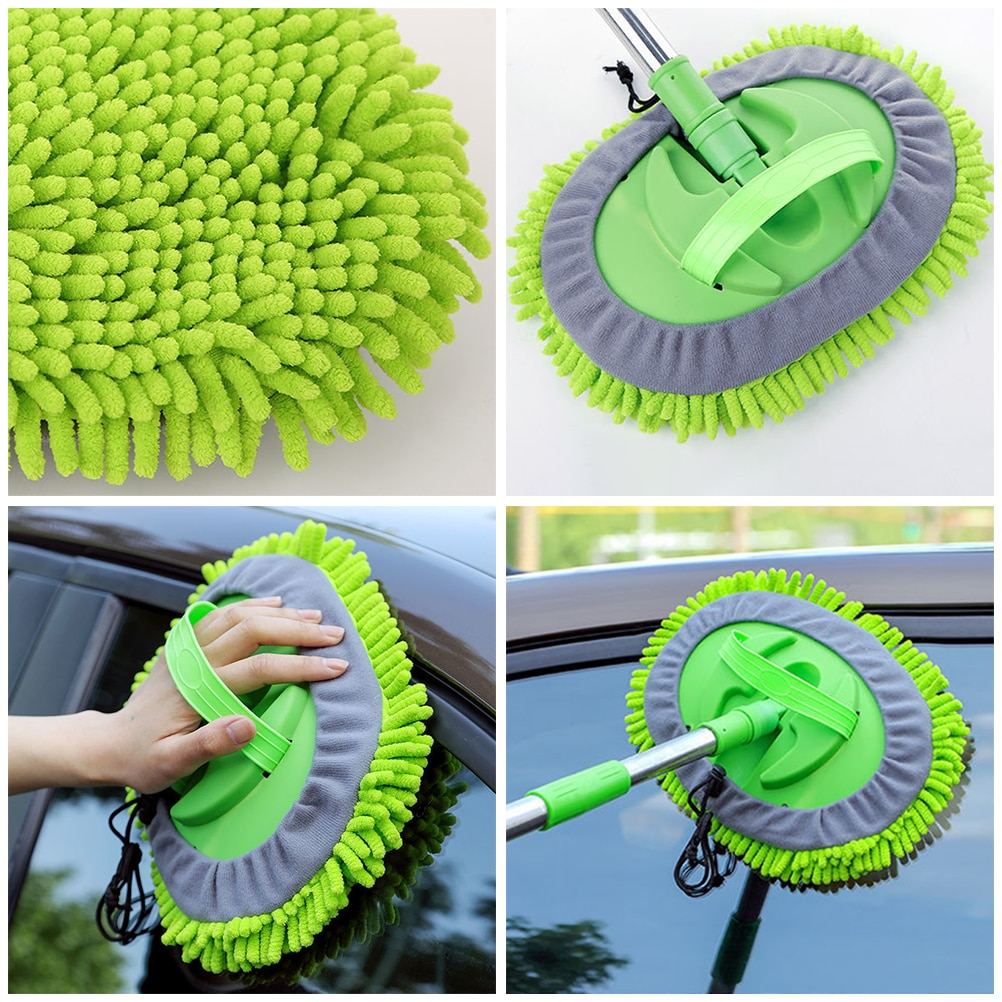 Car Wash Mop Mitt with Extendable Handle Chenille Microfiber Car Cleaning Kit Cleaning Tool with Replacement Head enlarge