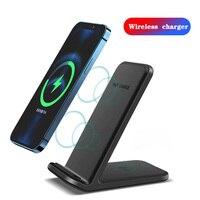10 Вт Qi Беспроводное зарядное устройство Подставка для iPhone 12 11 Pro XS MAX XR X Samsung S20 S10 Xiaomi Быстрая Зарядка Док-станция зарядное устройство для теле...