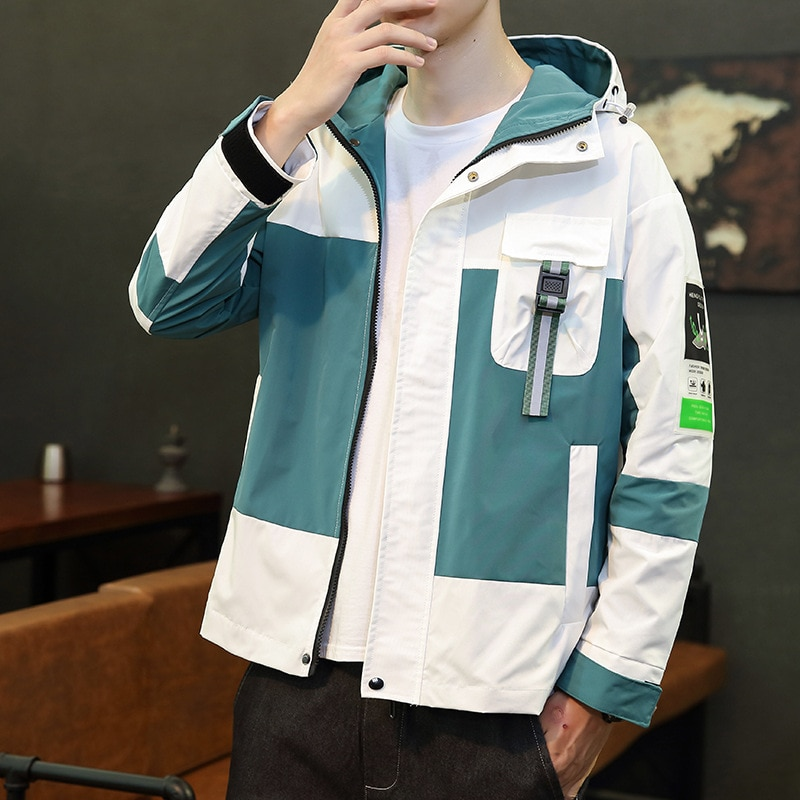 Новая Осенняя Куртка мужская универсальная облегающая мужская куртка оверсайз с капюшоном модная ветрозащитная куртка с блокировкой цвет...