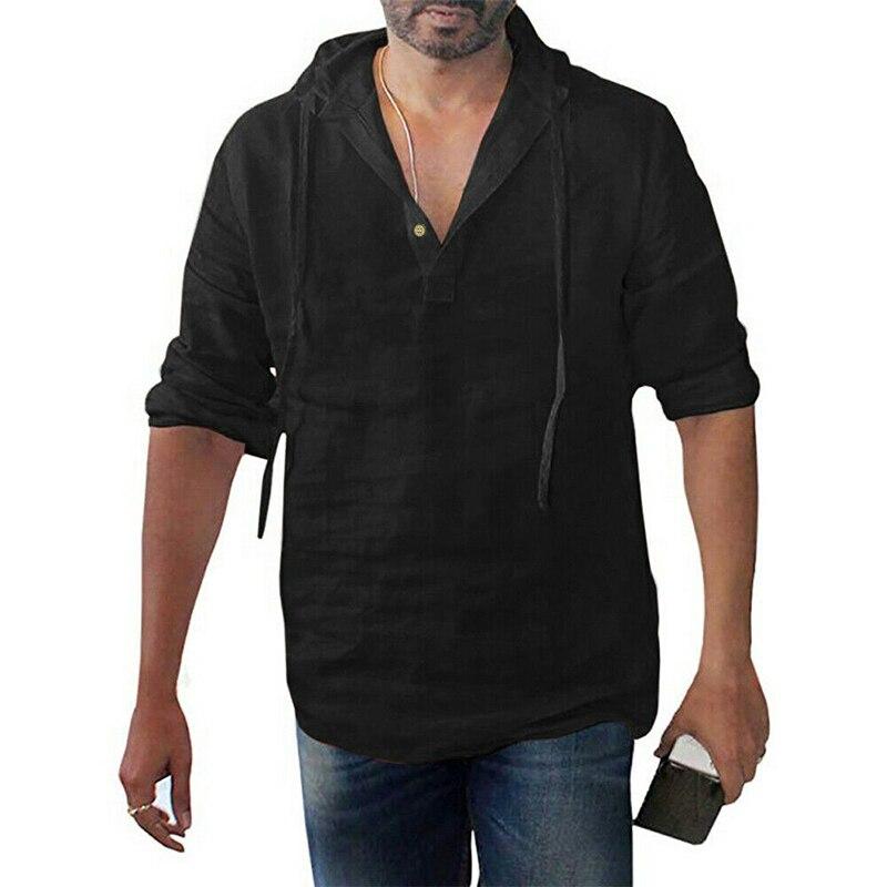 Primavera Verano para hombre Casual calle con capucha Camiseta Hombre algodón lino con capucha manga larga Camiseta sólido cuatro colores M-3XL 2019