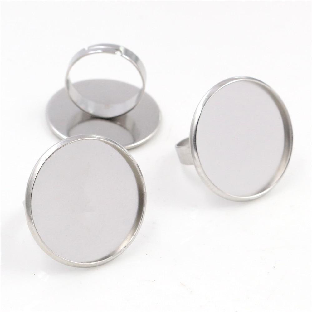 25mm 5 unids/lote No se decolora Ajuste de anillo ajustable de acero inoxidable en blanco/Base, apto para Cabochons-K1-01 de vidrio de 25mm
