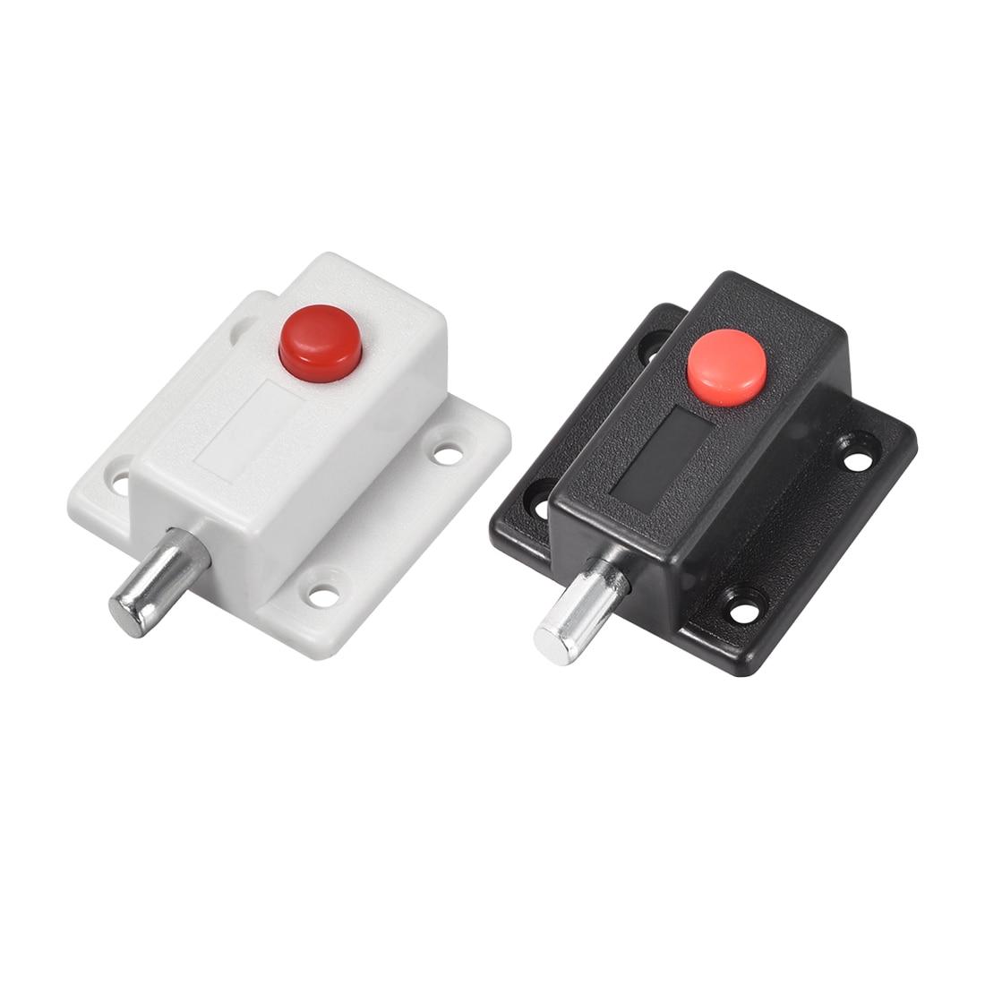 Uxcell Uxcell, alta calidad, 1-8 Uds., cerradura de perno de puerta, pestillo de barril de descarga deslizante de plástico de 2 pulgadas con botón de interruptor (Blanco/negro)