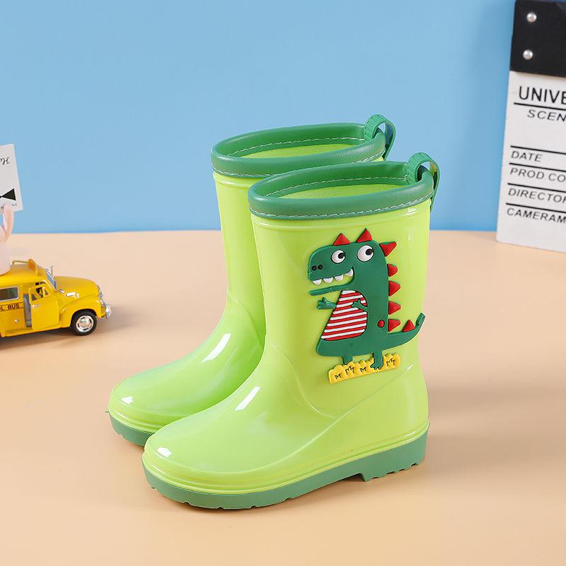 Zapatos de lluvia de dinosaurios de dibujos animados, Botas de lluvia para niños, botas de agua verdes para niños, zapatos resistentes al agua de lluvia, botines para chicas