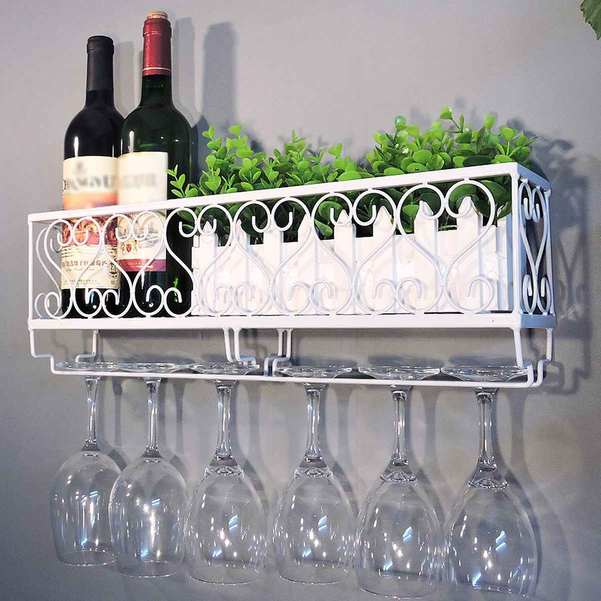 رف زجاجات بقاعدة معدنية ، رف تخزين معلق على الحائط لتخزين الأواني الزجاجية ، ديكور مطبخ منزلي