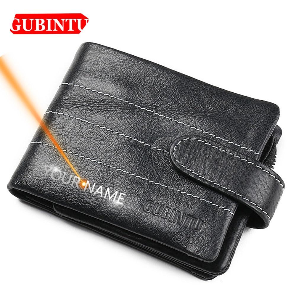 2020 Name Engraving Men Wallets Genuine Leather Short Solid Card Holder Coin Pocket Top Quality Brand Men Purses Carteria