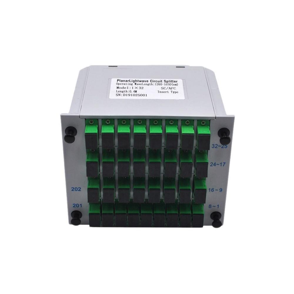 SC APC PLC 1X32 волоконно-оптический распределитель FTTH коробка ПЛК вставка листового типа волоконно-оптический соединитель распределитель встав...