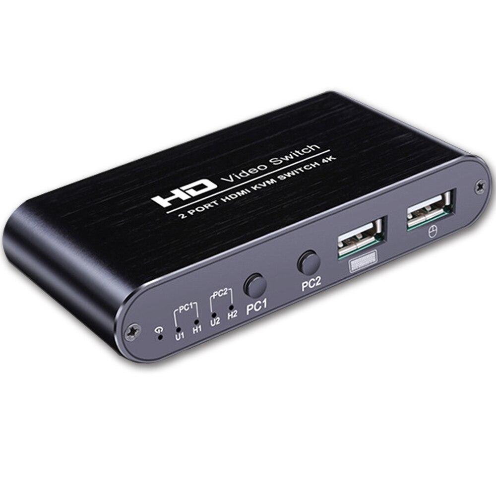 4k 2-port kvm switch teclado mouse switch inclui 2 usb tipo-b cabos suporte 4k 30 hz 3d computador portátil ps4 hdtv monitor