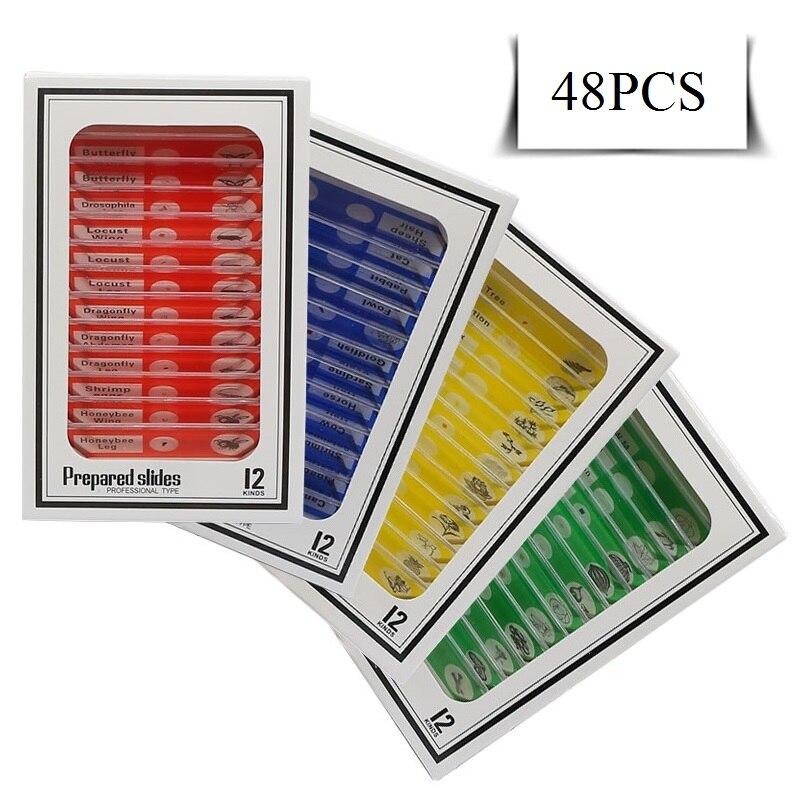 Купить с кэшбэком 48 PCS Prepared Plastic Microscope Slides Biological Specimen with 4 Boxes for Children Student Enlighten Education