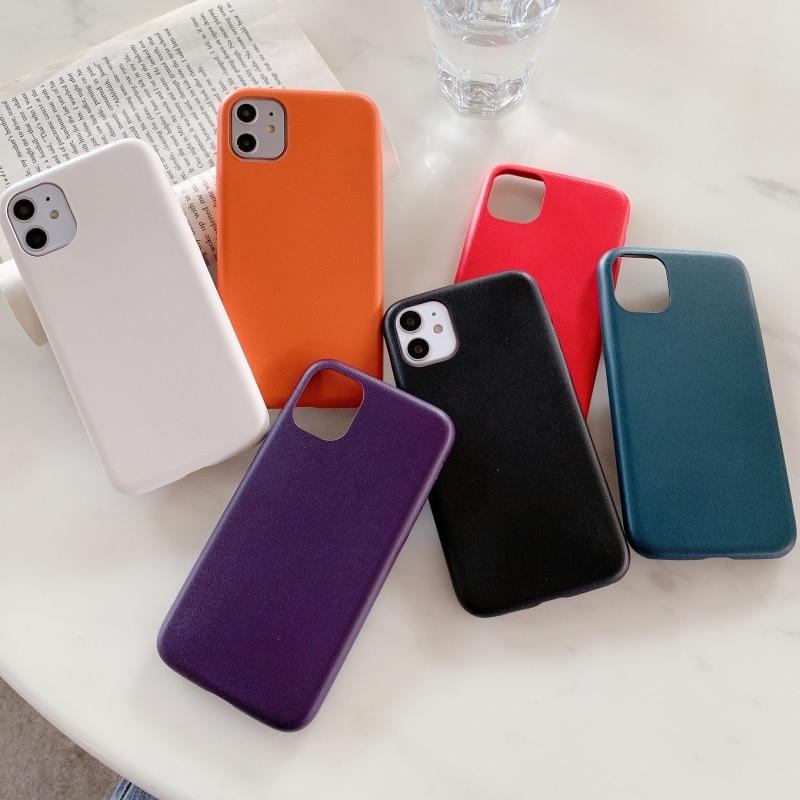 Mate de cuero de la pu rojo púrpura funda para teléfono para iphone 11 Pro XS MAX x xr 6S 6 7 8 plus de silicona suave cubierta azul blanco naranja funda