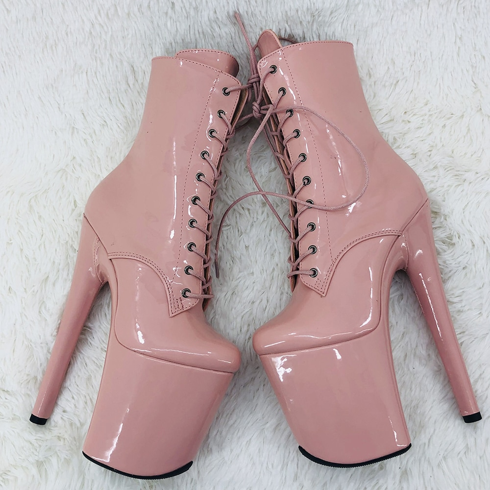 Leecabe  20CM/8inches shinny  PU  upper ankle boots fashion shoes  High Heel platform Pole Dance boot