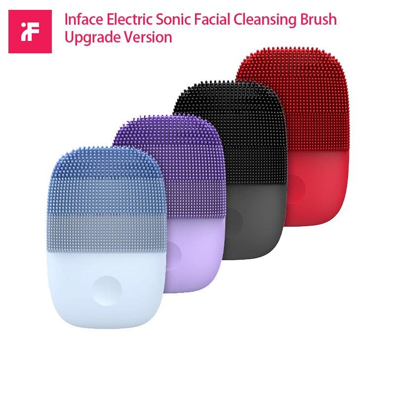 Escova de limpeza facial xiaomi inface, elétrica, sônica, versão atualizada, de silicone, à prova d água, limpeza profunda, utensílio de limpeza
