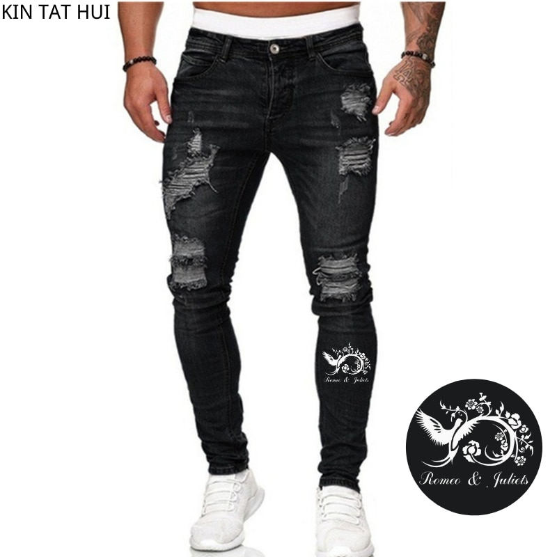 Jeans Men Ripped Skinny Jeans Blue Pencil Pants Motorcycle Party Casual Trousers Street Clothing 2020 Denim Man Clothin