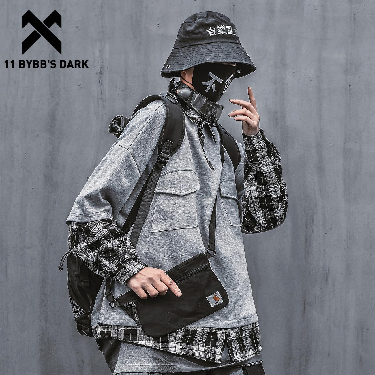 11 BYBB'S DARK-كنزة بغطاء للرأس للرجال ، منقوشة ، مرقعة ، هيب هوب ، ملابس الشارع ، قطن ، ربيع ، Harajuku ، 2021