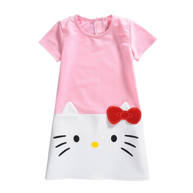 Hola Kitty niños vestidos de las muchachas del vestido de la princesa suéter de algodón de dibujos animados de manga corta vestido de verano para niñas niños ropa