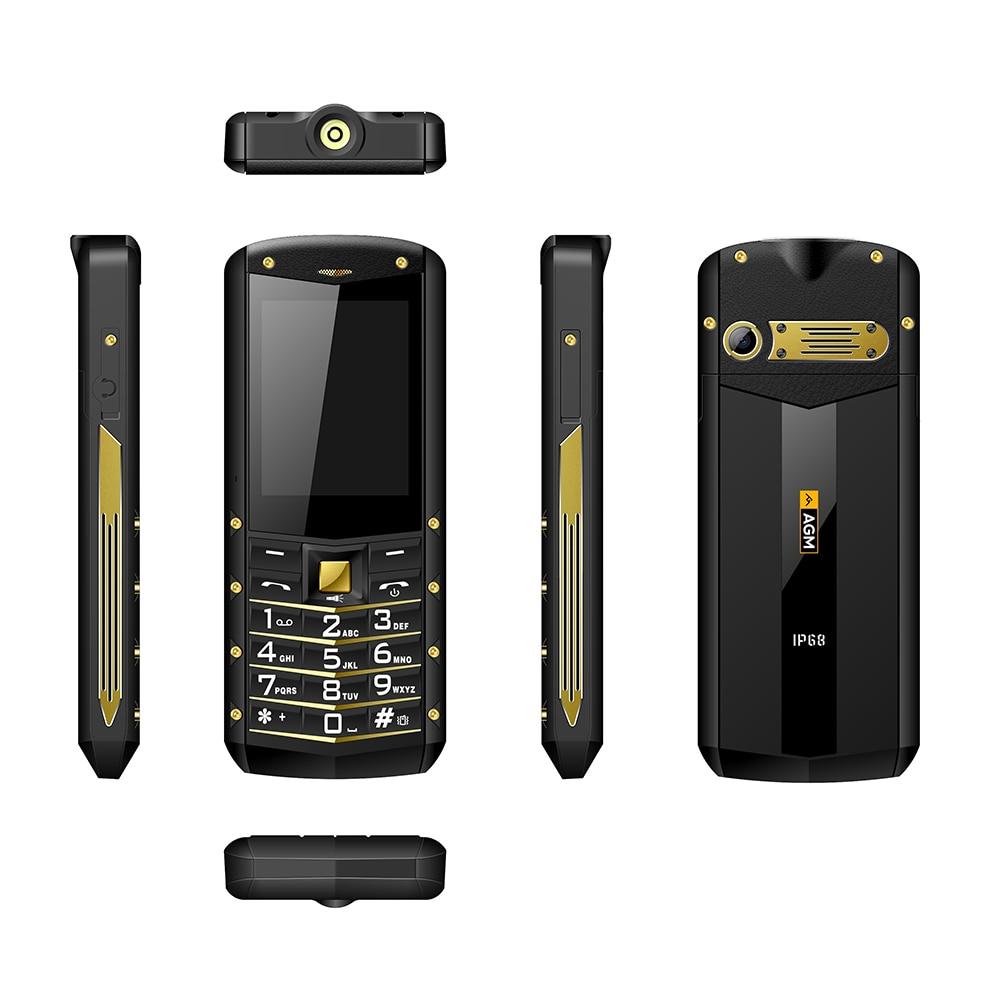 AGM M2 IP68 Rugged Phone Dual Sim Waterproof Gold Black Phone Flashlight Loud Sound Feature Phone Ch