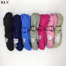KLV Children Winter Warm Gloves Boys Girls Geometric Print Thick Windproof Waterproof  Baby Mittens