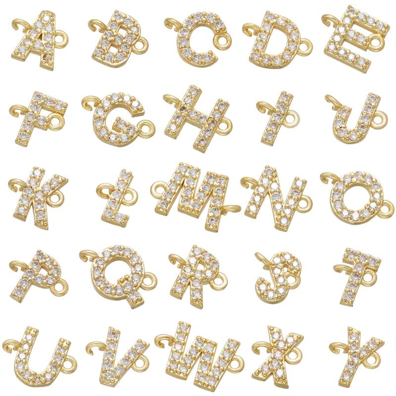 ZHUKOU 8x10 مللي متر الذهب اللون 26 رسالة موصل charms DIY بها بنفسك اليدوية سوار صنع المجوهرات الاكسسوارات بالجملة VS461