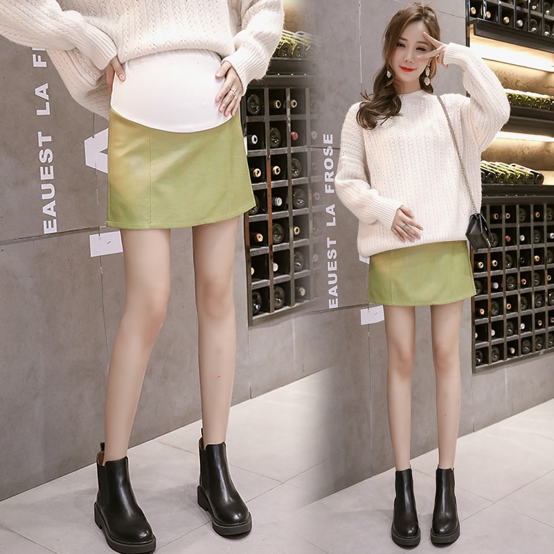 Belly Support Maternity PU Leather Skirt Autumn Winter Pregnancy Women A-line Skirt Pregnant Package