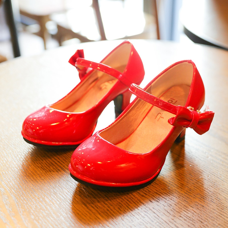 أحذية جلدية للبنات ، صنادل بربطة عنق ، كعب عالي ، أحذية أميرة ناعمة للبنات ، مجموعة جديدة للأطفال