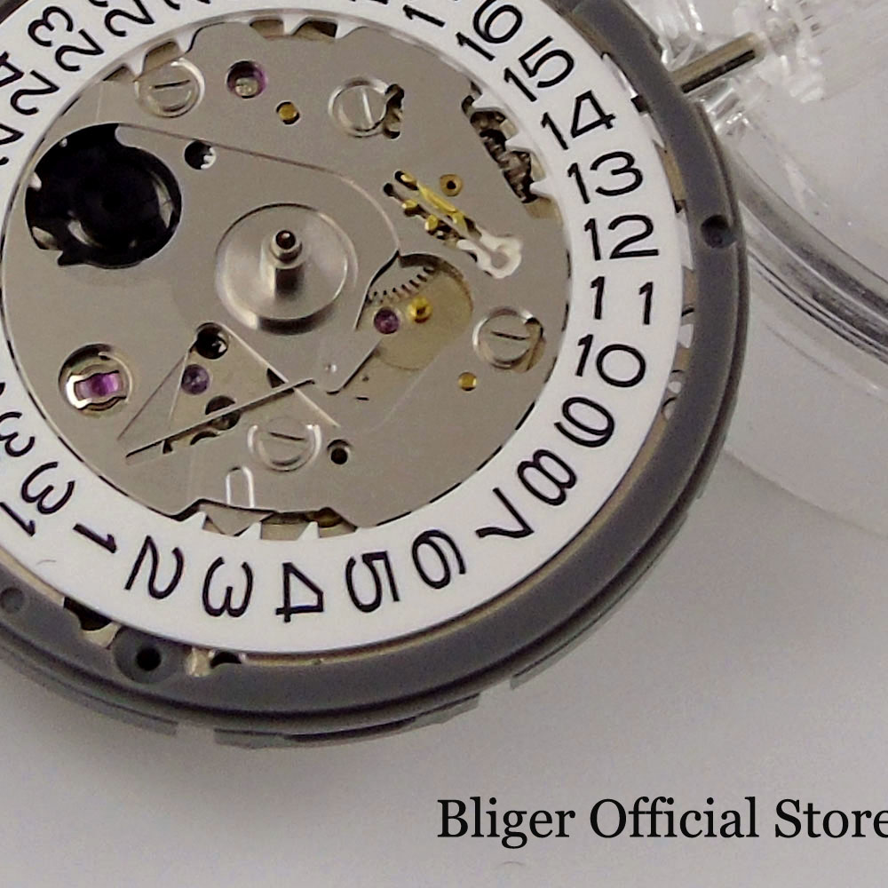 Replacement Japan 24 JEWELS Mechanical NH35A Watch Movement White/Black Date High Accuracy Winding Stem Set enlarge