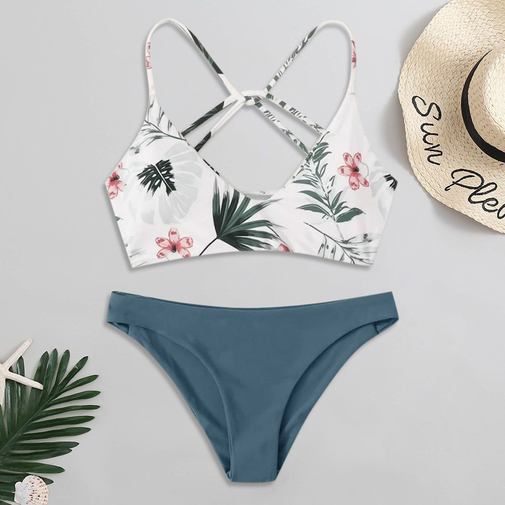 bikini 2021 woman Floral Random Print Set Push-Up Swimsuit Beachwear Padded  Swimwear bikini