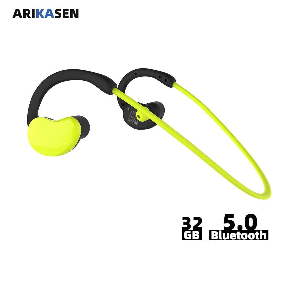 Arikasen الرياضة MP3 لاعب سماعة 32 GB مقاومة للماء بلوتوث سماعة 10 ساعة الوقت اللاسلكية سماعة مع المسجل micphone ستيريو