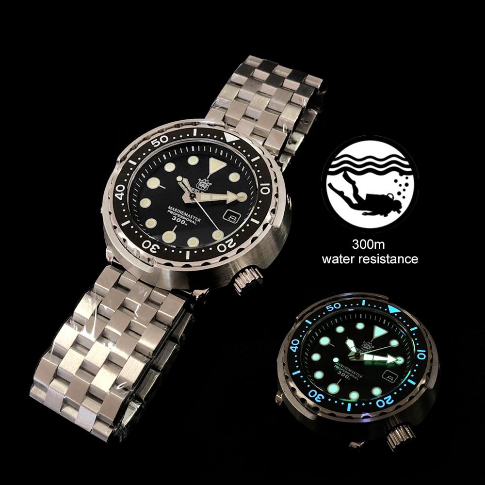 1975 première montre de plongée de thon en conserve Super lumineux montre automatique homme montre mécanique NH35 300M plongeur montres saphir cristal