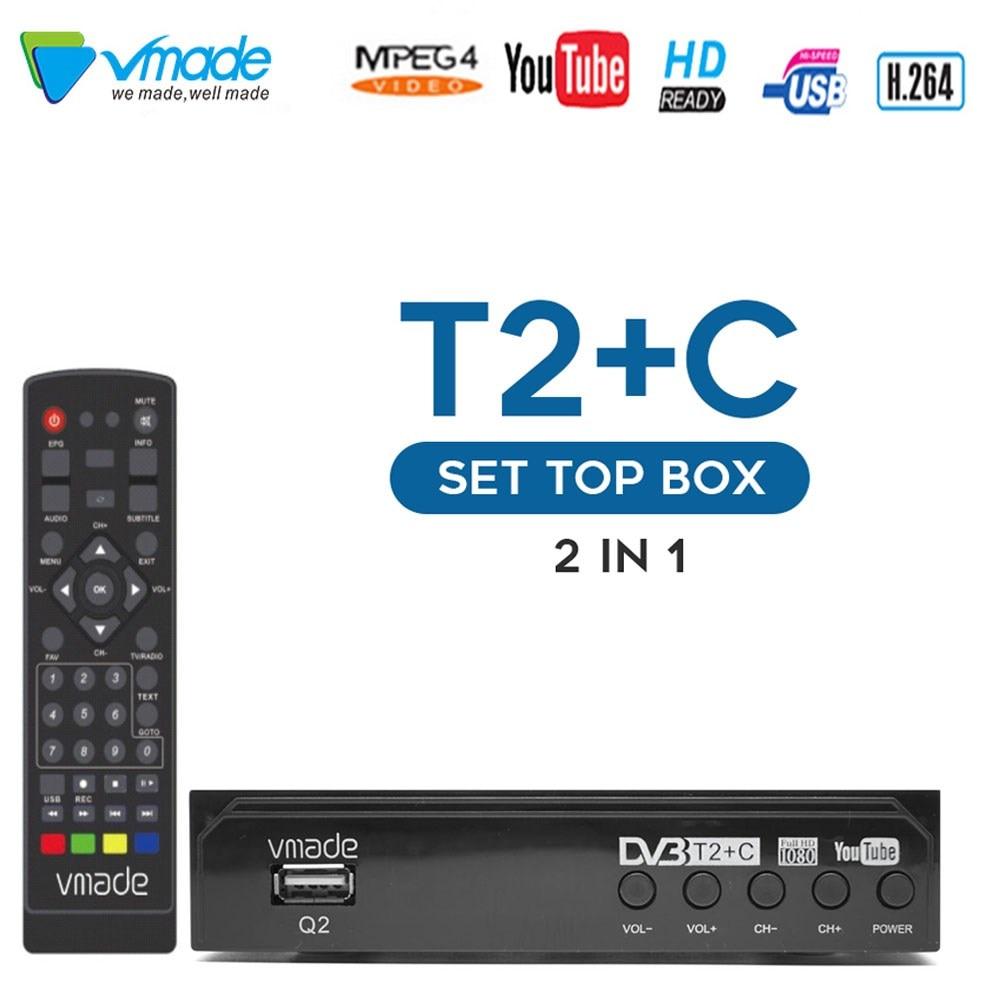 Vmade DVB-T2/DVB-C HD TV Tuner Full 1080P Digital TV Receiver WIFI TV Boxes Youtube m3u Terrestrial Decoder For Hot sell Russia недорого
