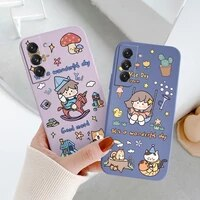 little girl liquid silicone case for samsung galaxy s21 s20 s10 note 20 10 a72 a52 a42 a32 a71 ultra thin soft phone cover case