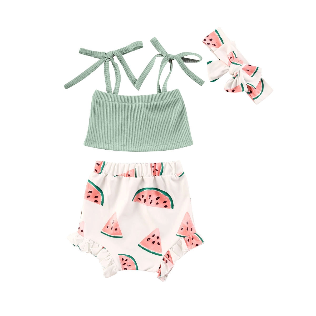 Conjuntos de ropa para recién nacidos y bebés, Tops cortos con tirantes de punto acanalado sin mangas de verano + estampado de sandías diademas para cabello corto
