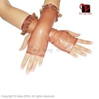sexy transparent brown and goldnovelty latex rubber gloves fingerless mittens gummi glovelettes ruffles wristlets knuckle st 002
