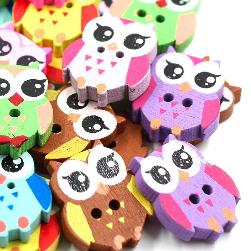 50 Uds 17x21mm de dibujos animados botones Animal lindo botones de madera de 2 agujeros botones de colores para los niños costura coser mercería DIY