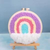 sweety rainbow punch needle kit for beginner diy embroidery kit punch needle kit with yarn punch needle pattern rug hooking