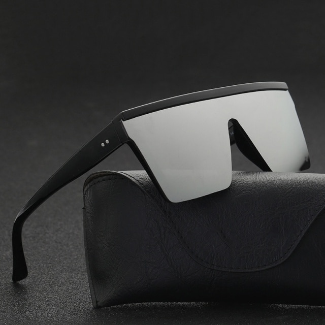 2021 Vintage Male Flat Top Sunglasses Men Brand Black Square Shades UV400 Gradient Sun Glasses For Men Cool One Piece Designer