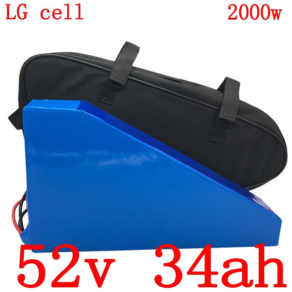 52V batería triangular 52V 35AH de la batería de litio de panck 52V 34Ah usar LG celular batería de bicicleta eléctrica 48V 1000W 1500W 2000W motor