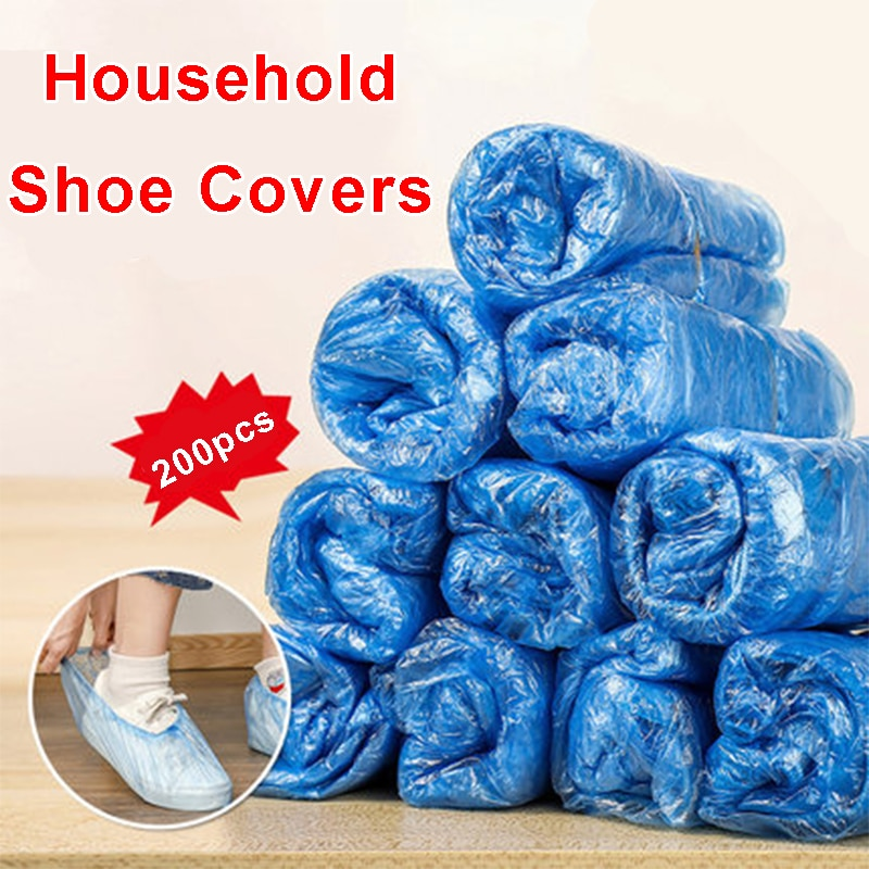 200 PCS Plastic Waterproof Shoe Covers Disposable Cleaning Overshoes Outdoor Rainy Day Carpet Cover