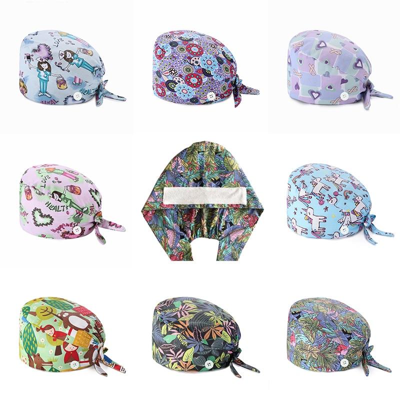 Adjustable Uni Printing Cotton Scrub Hat Beauty Salon Working Caps Surgical Cap Nurse Hat Elastic Nurse Accessories