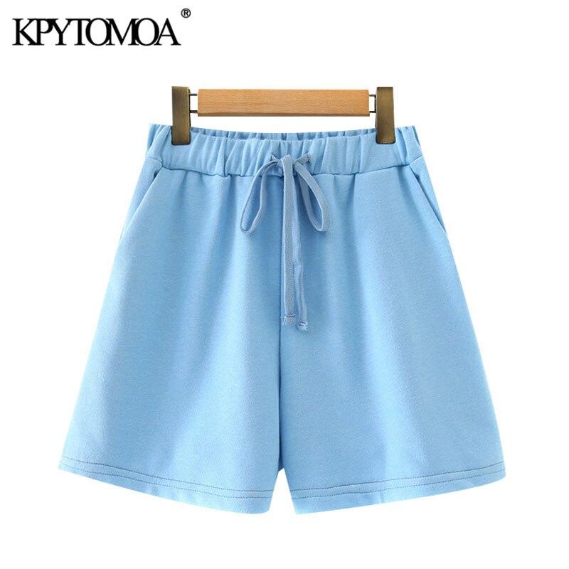 Kpytomoa 2020 chique moda bolsos laterais básico shorts vintage cintura elástica alta com cordão feminino calças curtas pantalones
