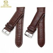 Ремешок для часов из натуральной кожи 22, 23, 24, 26, 28 мм, ремешок для часов с застежкой, мужской кожаный браслет, общий ремешок для часов с крокодиловым покрытием