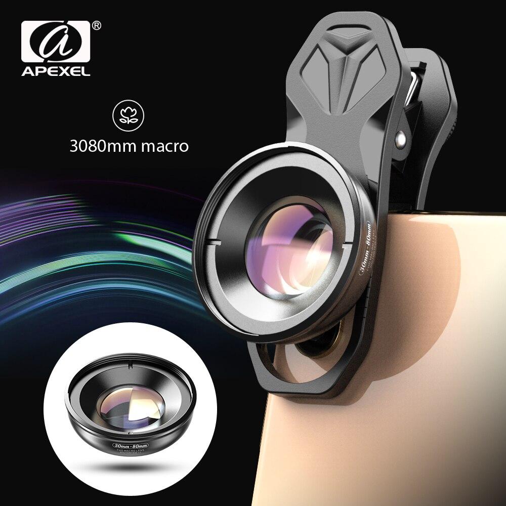 APEXEL HD البصرية عدسة الكاميرا الهاتف 30-80 مللي متر ماكرو عدسة سوبر ماكرو العدسات آيفون 11 برو Xs ماكس هواوي شاومي جميع الهواتف النقالة