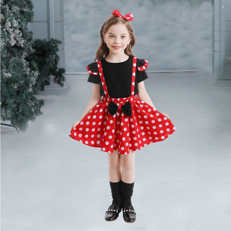 New Year Baby Girls Christmas Clothes Set Kids Halloween Cosplay Princess Mini Mouse Costume Children Birthday Party Dot Dresses