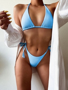 Sexy Solid Purple Micro Bikini 2020 Brazilian Push Up Padded Lace Up Swimsuit Bathers Bathing Suit Thong Swimwear