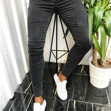 Mens Jeans Men Black Moto Skinny Jeans 2021 Stretch Ripped Denim Pencil Pants Streetwear Pure Color