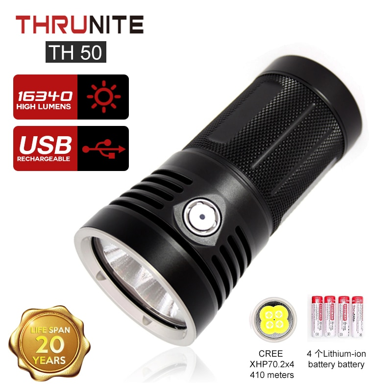 thrunite tn50 lanterna 16340 lumens quatro cantos xhp702 super brilhante monstro