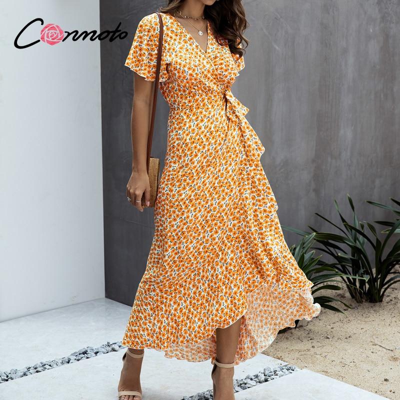 Conmoto volantes de proa wrap sexy vestidos largos mujeres casual verano 2020 vestido de talla grande cuello pico boho beach maxi vestidos