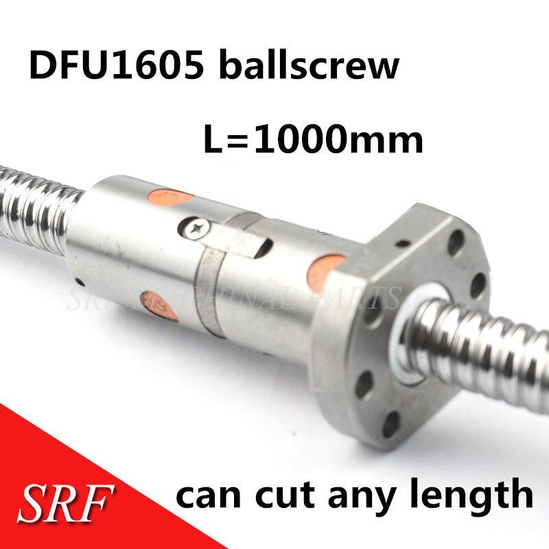 Ballscrew rolado rm1605 1000mm c7 lead-ball-screw dfu1605 ballnut duplo